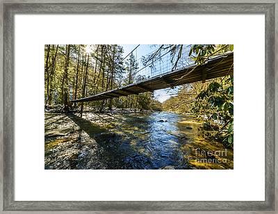 Swinging Bridge Back Fork Of Elk Framed Print by Thomas R Fletcher