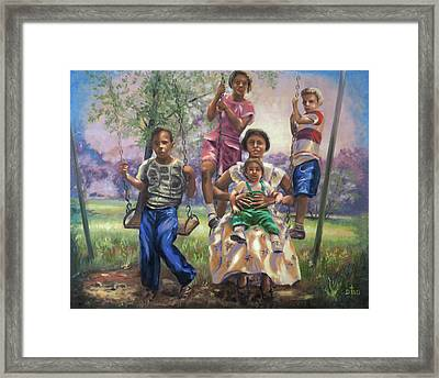 Swinging In The Shade Framed Print