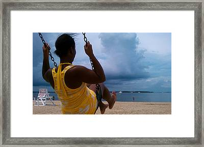 Swinging On A Stormy Sandy Beach Framed Print by Paul SEQUENCE Ferguson             sequence dot net