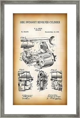 Swingout Revolver Bullet Cylinder Patent 1898 Framed Print