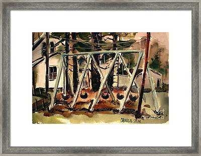 Framed Print featuring the painting Swings Under The Pines Before The Storm Plein Air by Charlie Spear