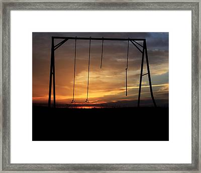 Swingset Sunset Framed Print