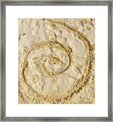 Framed Print featuring the photograph Swirl Drawn In The Sand by Francesca Mackenney