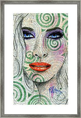 Framed Print featuring the drawing Swirl Girl by P J Lewis