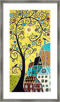 Swirl Tree Two Birds And Houses Framed Print by Karla Gerard