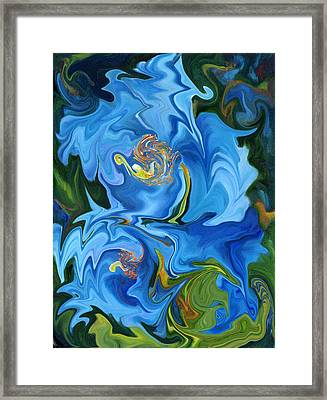 Swirled Blue Poppies Framed Print