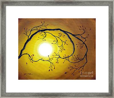 Swirling Branch In Autumn Glow Framed Print by Laura Iverson