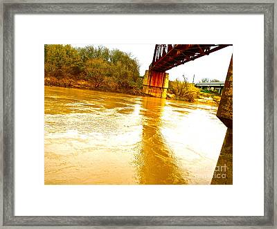 Swirling Good Water And Brazos Bridge Framed Print by Chuck Taylor