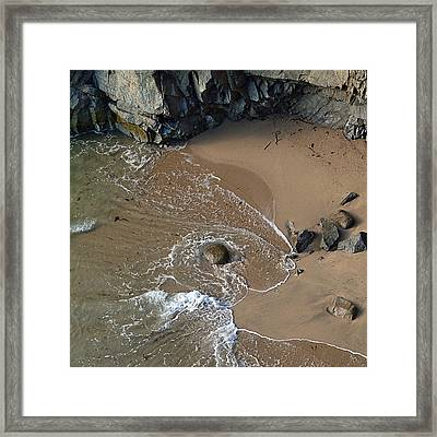 Swirling Surf And Rocks Framed Print by Charlene Mitchell