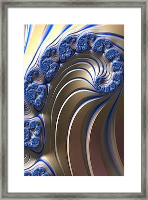 Swirly Blue Fractal Art Framed Print by Bonnie Bruno
