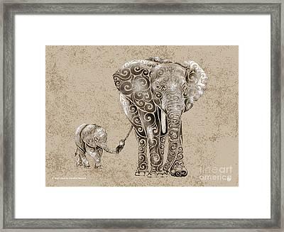 Swirly Elephants Framed Print