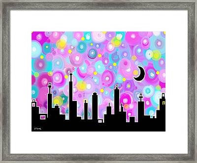 Swirly Metropolis Framed Print