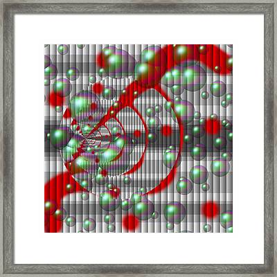 Swirly Red With Bubbles Framed Print