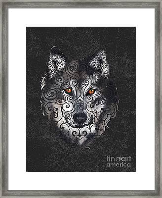 Swirly Wolf Framed Print