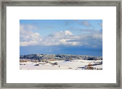 Swiss Farm Fields Under Snow Framed Print