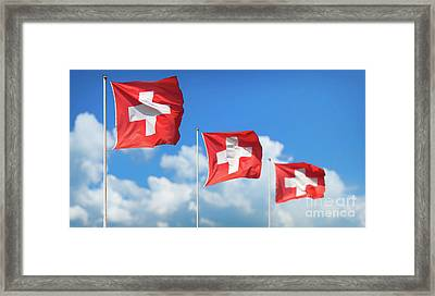Swiss Flags - Flags Of Switzerland Framed Print