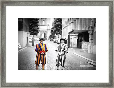 Swiss Guards At Vatican Frontier   Framed Print by Stefano Senise