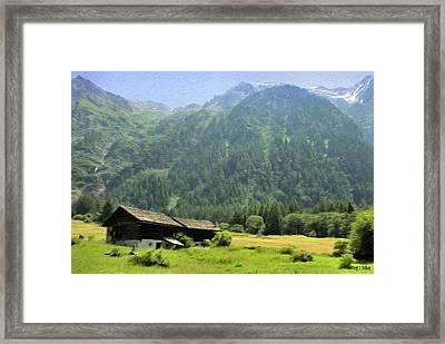 Swiss Mountain Home Framed Print by Jeff Kolker