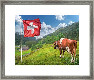 Swiss Mountain Scenery Framed Print by JR Photography
