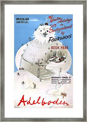 Switzerland Adelboden Vintage Travel Poster Framed Print by Carsten Reisinger