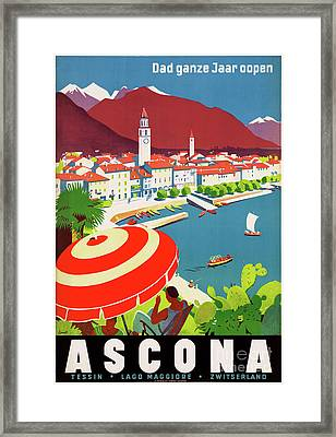 Switzerland Ascona Vintage Travel Poster Restored Framed Print by Carsten Reisinger