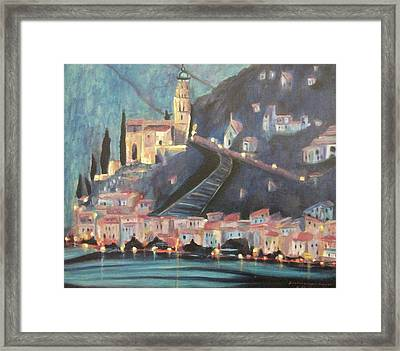 Switzerland By Night Framed Print by Suzanne  Marie Leclair