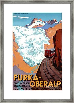 Switzerland Furka Oberalp Vintage Poster Restored Framed Print