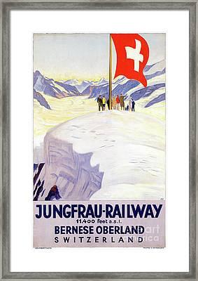 Switzerland Jungfrau Railway Vintage Poster Framed Print