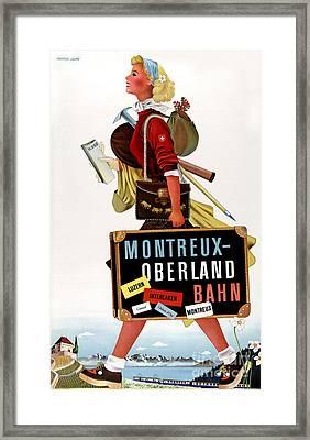 Switzerland Vintage Travel Poster Framed Print by Carsten Reisinger