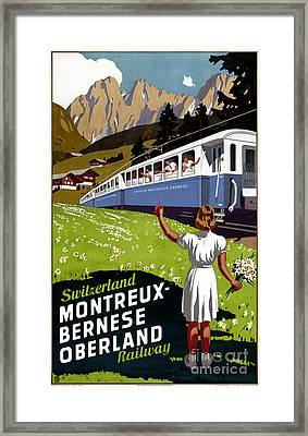 Switzerland Vintage Travel Poster Restored Framed Print by Carsten Reisinger