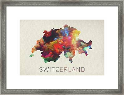 Switzerland Watercolor Map Framed Print