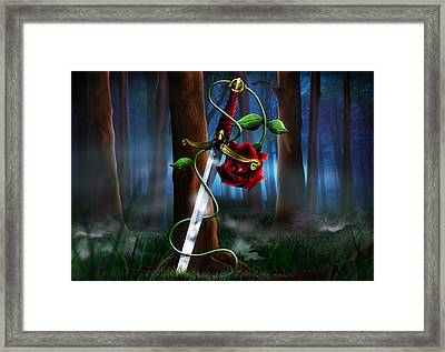 Sword And Rose Framed Print