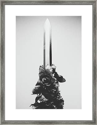 Sword And Rose Framed Print