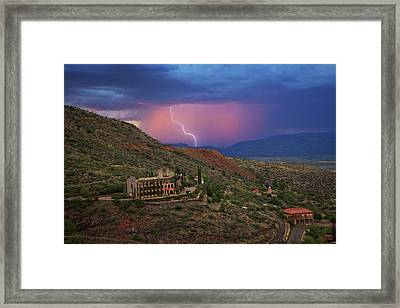 Framed Print featuring the photograph Sycamore Canyon Lightning With Little Daisy by Ron Chilston