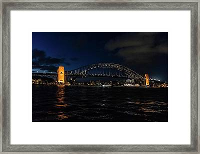 Sydney Bridge At Night Framed Print