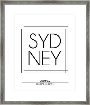 Sydney City Print With Coordinates Framed Print
