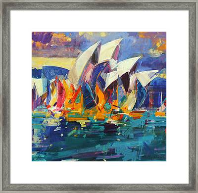 Sydney Flying Colours Framed Print by Peter Graham