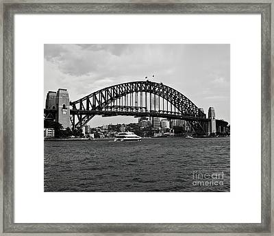 Sydney Harbour Bridge In Black And White Framed Print by Chris Smith