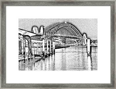 Sydney Harbour Bridge Pencil Sketch 2 By Kaye Menner Framed Print by Kaye Menner