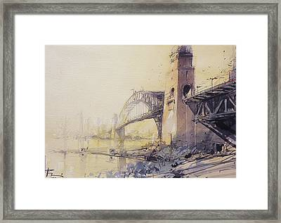 Sydney Haze Framed Print by Tony Belobrajdic