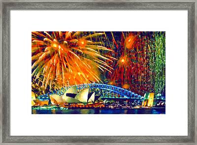 Sydney New Year Fireworks Framed Print