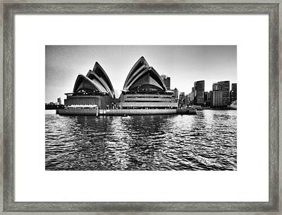 Sydney Opera House-black And White Framed Print