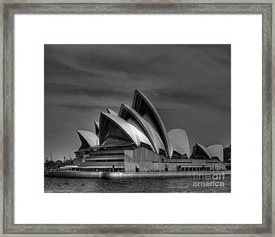 Sydney Opera House Print Image In Black And White Framed Print by Chris Smith