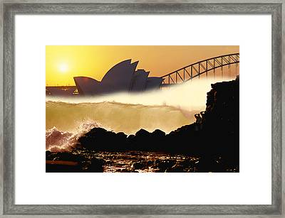 Sydney Surf Framed Print by Sean Davey