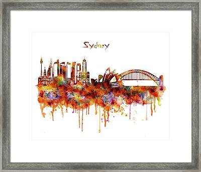 Sydney Watercolor Skyline Framed Print by Marian Voicu