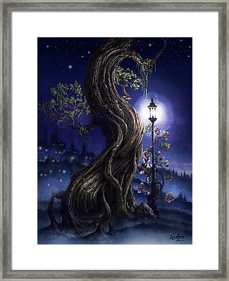 Sylvia And Her Lamp At Dusk Framed Print by Curtiss Shaffer