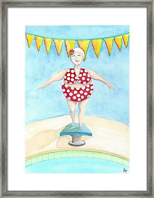 Sylvia At The Pool Framed Print by Stephanie Troxell