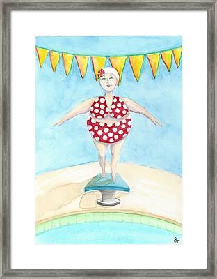 Sylvia At The Pool Framed Print