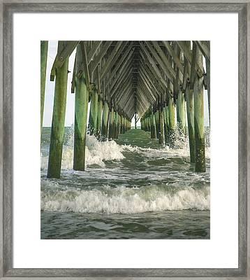 Symbolic Surf City Pier Framed Print