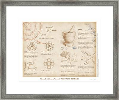 Symbols And Elements Framed Print